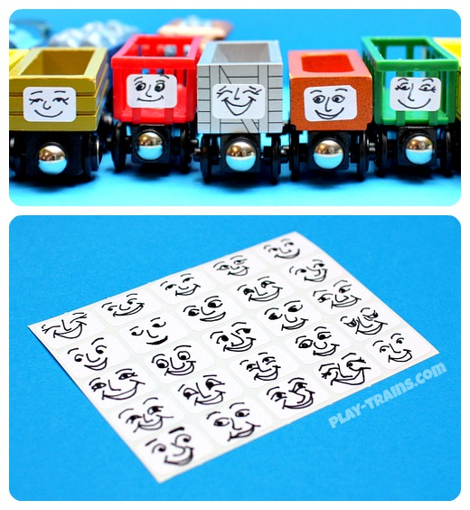 DIY removable Troublesome Truck faces for wooden trains. Any Thomas the Tank Engine fan would love this personality upgrade for these freight cars! Another fun DIY train project from Play Trains! http://play-trains.com