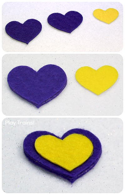 Easy DIY Felt Hearts: fun Valentine's Day freight for wooden trains from Play Trains!