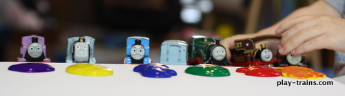Painting with Toy Trains on Canvas, Now with Extra Pretend Play