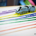Painting with Trains on Canvas