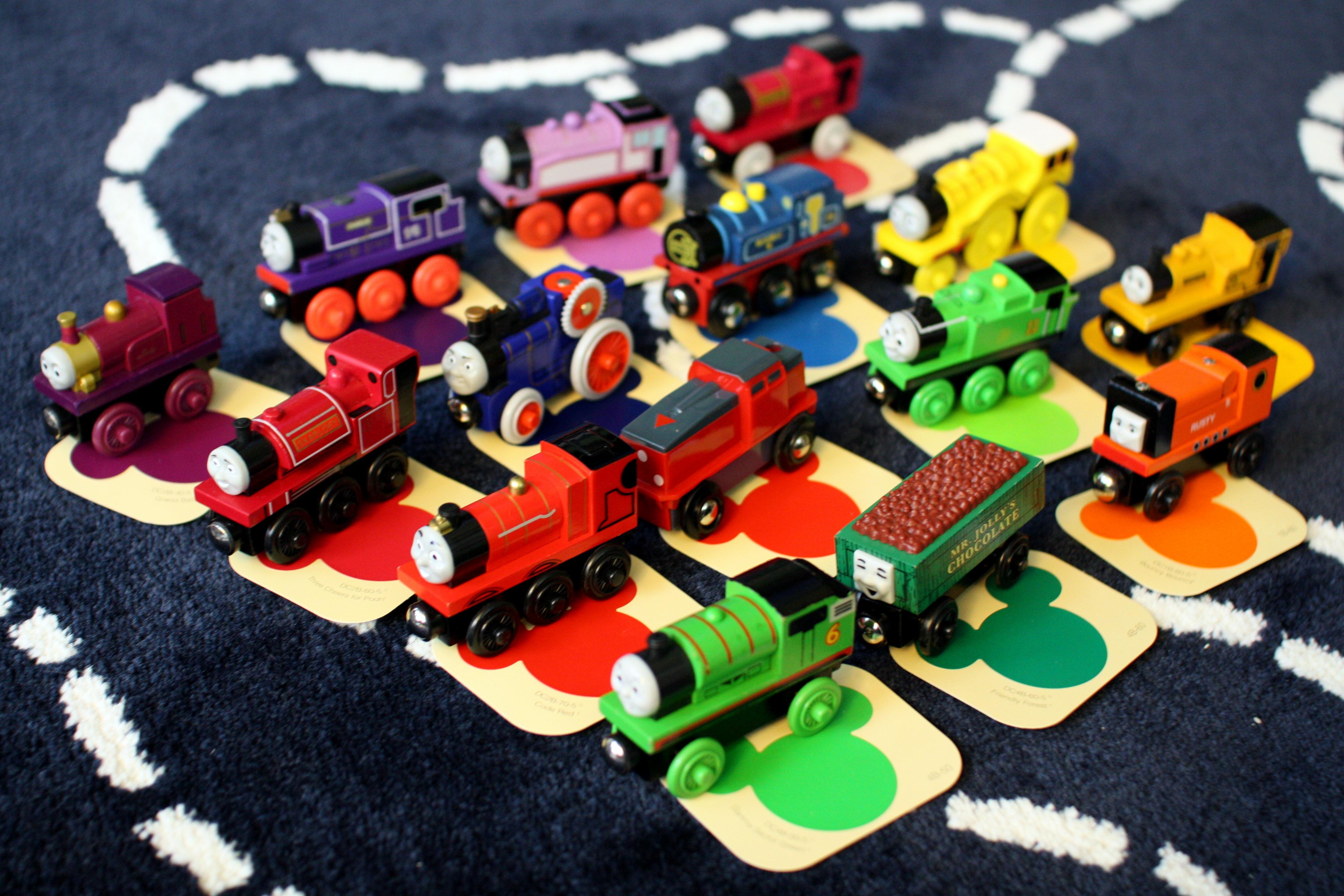 engine paint shop train color matching activity for preschoolers