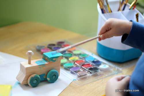 Building and Painting Wooden Trains with My Toddler