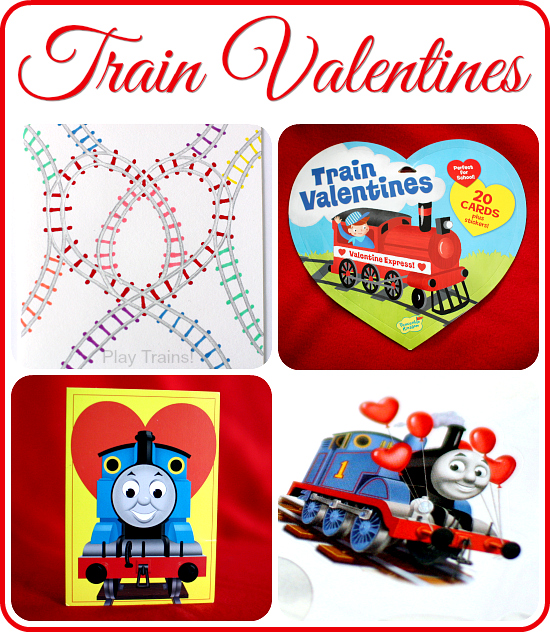 Train Valentines from Play Trains! Includes Thomas & Friends, Dinosaur Train, and steam engine cards. Lots of free printable valentines, too!