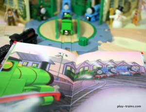 Thomas in Town: Valentine's Day in Vicarstown -- book review, ideas for play, and pictures of our huge Valentine's Day in Vicarstown layout @ Play Trains!