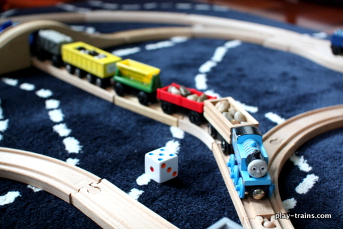 """Dice Cars"":  a fun, hands on, train-themed math game with several variations for different levels of skill @ Play Trains!"