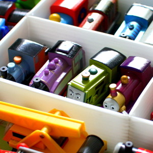 Organizing Wooden Trains and Track: how we store our trains on the rare occasions when we're not playing with them @ Play Trains!