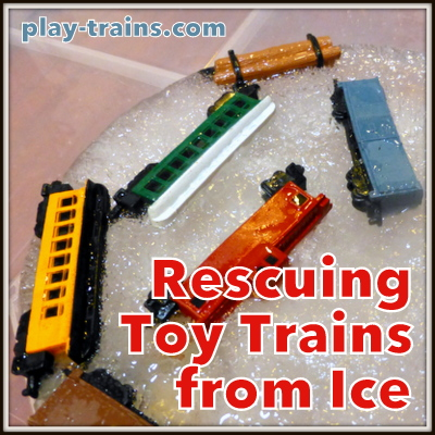 Rescuing Toy Trains from Ice:  a great activity to encourage problem solving and scientific exploration @ Play Trains!