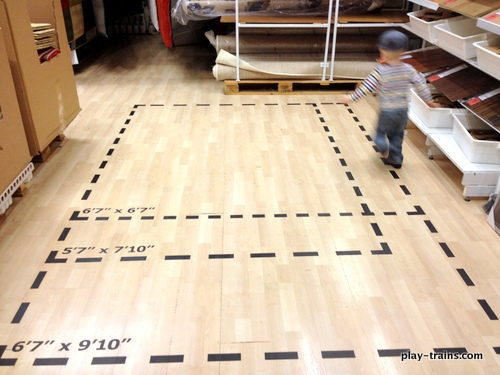 """The Little Engineer discovered this """"train track"""" at IKEA.  Perfect for getting the wiggles out! @ Play Trains!"""