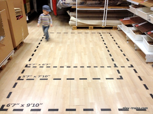 "The Little Engineer discovered this ""train track"" at IKEA.  Perfect for getting the wiggles out! @ Play Trains!"