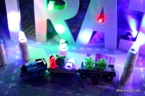 "Angry Birds Space Letter and Word Crash with Thomas and Cranky the Crane @ Play Trains!  We've added lights, 3D cardboard letters, and a few good friends to our ""live action"" Angry Birds games, as the Little Engineer calls them, and it's fun for the whole family!"