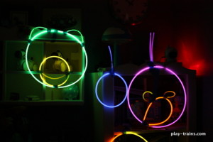 Angry Birds Glow Stick Costumes and Glow Train Tracks