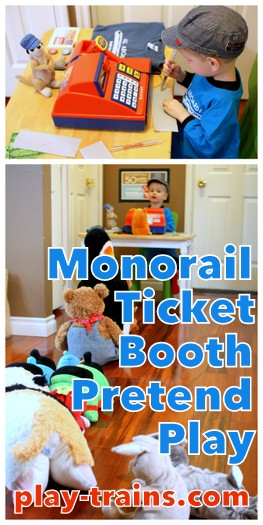 Monorail Ticket Booth Pretend Play @ Play Trains!