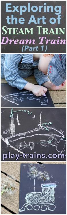 Exploring the Art of Steam Train, Dream Train (Part 1) @ Play Trains!  Drawing a steam engine with chalk to learn about the illustrations in the the author and the illustrator of Goodnight, Goodnight, Construction Site's new book.