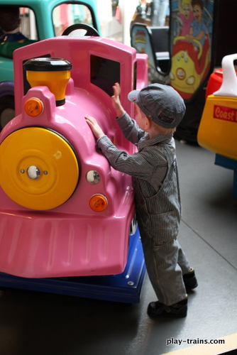 The Little Engineer maintaining his engine @ Play Trains!