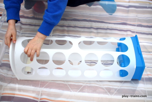 Coal & Water Steam Engine Sensory Bin @ Play Trains!