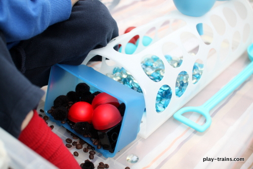 Coal & Water Steam Engine Sensory Bin