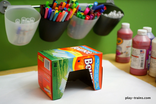 Kids' Crafts for Wooden Trains: Dryer Sheet Box Engine Shed @ Play Trains!