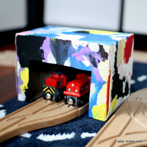 Kids' Crafts for Train Sets: Dryer Sheet Box Engine Shed @ Play Trains!