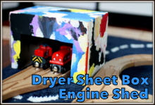 Dryer Sheet Box Engine Shed Train Craft for Kids @ Play Trains!