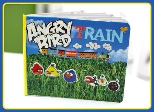 DIY Board Book: a Kid's Favorite Things Mash-up @ Play Trains!  A mom and son make a board book together that combines his two favorite things: trains and Angry Birds.
