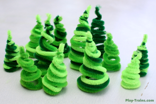 pipe cleaner trees for wooden train layouts play trains another diy element we - Pipe Cleaner Christmas Tree