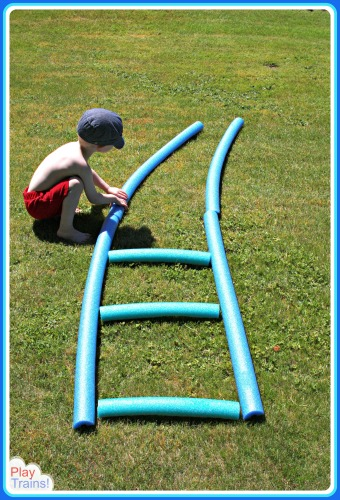 Pool Noodle Train Tracks: Summer Train Fun for Kids @ Play Trains!