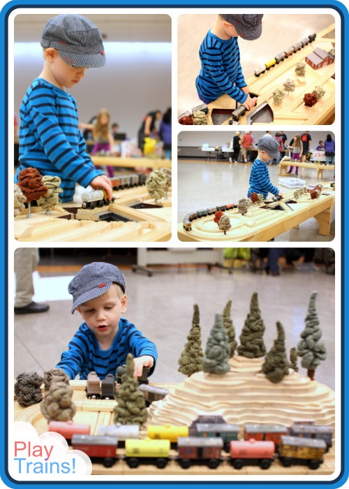 wTrak Wooden Train Tables at Seattle's Mini Maker Faire