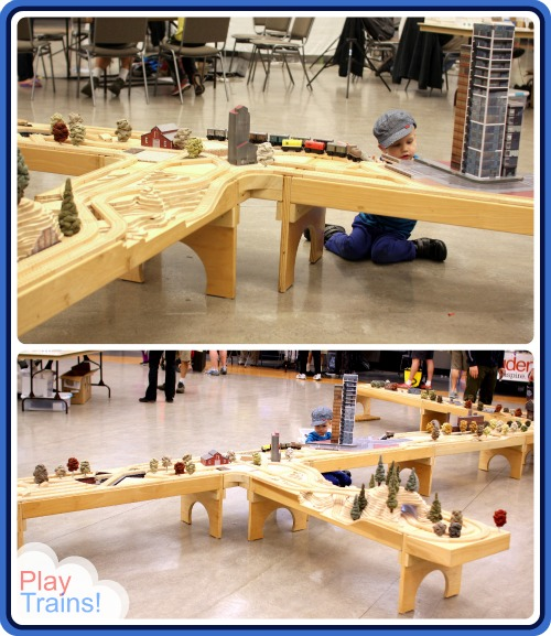 wTrak Modular Train Tables at Seattle's Mini Maker Faire @ Play Trains!  Check out these work-of-art train tables that you can build yourself!
