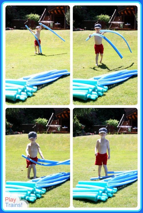 Pool Noodle Train Tracks: Summer Train Fun for Kids @ Play Trains!