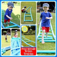 "Pool Noodle Train Tracks: Summer Train Fun for Kids @ Play Trains! Kids can build these train tracks, then add a sprinkler to cool off in an ""engine wash."""