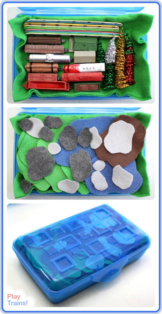 Portable Small World: Pretend Model Train Set @ Play Trains! Come see how big the Little Engineer grinned the first time he put together this DIY train set you can take along to play anywhere!