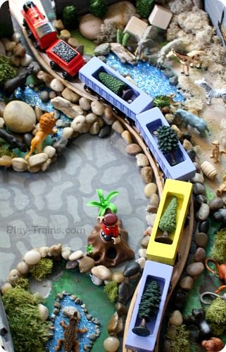 DIY Zoo Set for Wooden Trains @ Play Trains! Our train twist on the Jungle Diorama from Jo-ann's Cape Discovery summer crafting challenge. #summerofjoann