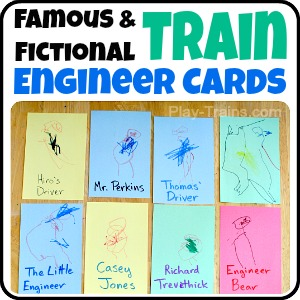 "Famous and Fictional Train Engineer Cards @ Play Trains! Creating these ""trading cards"" based on historical and fictional railroad engineers provides opportunities for figure drawing, writing practice, and the exploration of knowledge gained from books through open-ended pretend play."