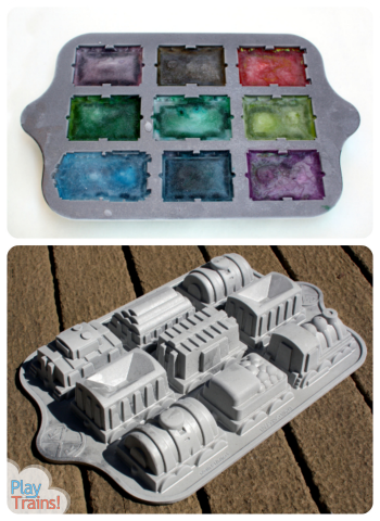 Icy Engine: Cool Summer Train Ice Play @ Play Trains! Activities for ice frozen in the shape of an engine and freight cars.