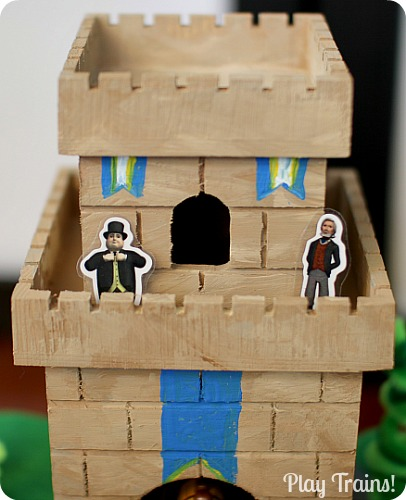 DIY Castle for Wooden Trains @ Play Trains! http://play-trains.com An inexpensive craft perfect for playing out the new Thomas & Friends movie, King of the Railway!