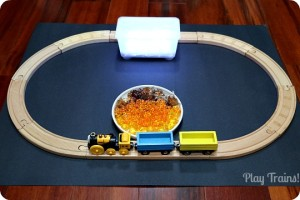 Fall Freight Light Box Train Play: working trains into a simple invitation to play @ Play Trains!