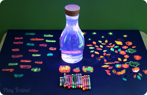 Fall Invitations to Play: Glowing Fall Discovery Bottle @ Play Trains! http://play-trains.com/