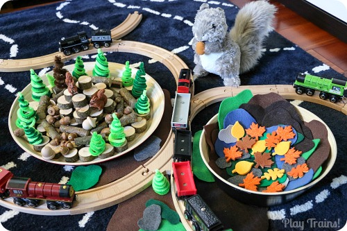 Squirrel Train Small World from Play Trains! http://play-trains.com/