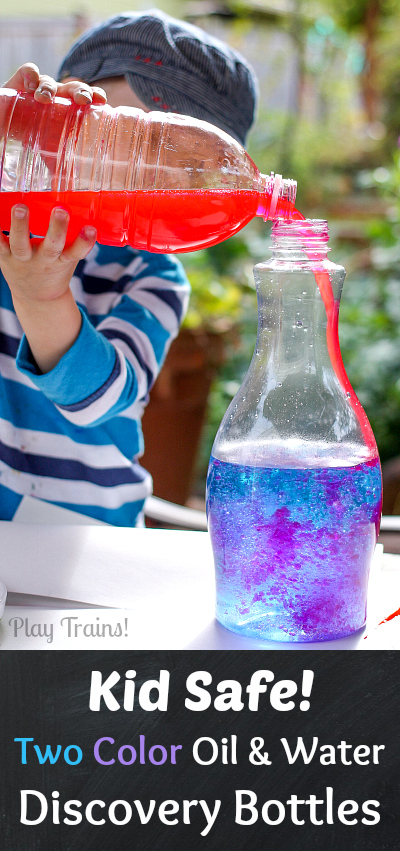 KID SAFE Two-Color Oil and Water Discovery Bottles from Play Trains! These vibrant discovery bottles contain no lamp oil, using all edible ingredients to make them safe for young children to make themselves!