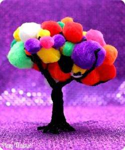 Halloween Carnival Pom Pom Tree Play from Play Trains! Includes both a simple invitation to play and a train play activity.