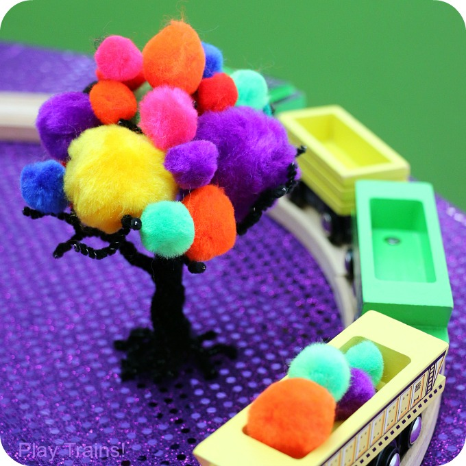 Halloween Carnival Pom Pom Trees Invitation to Play