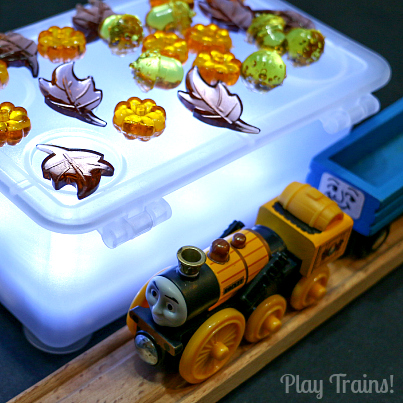 October Moon Halloween Train Play @ Play Trains! Plus thoughts on working trains into invitations to play.