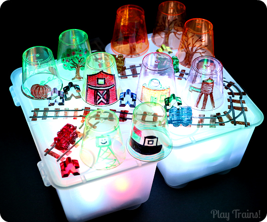 Story Cups for Light Play from Play Trains!