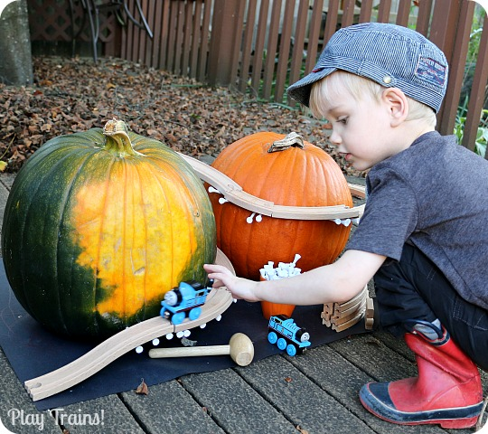 Pumpkin Mountain Railroad Building: a Halloween Train Activity from Play Trains!