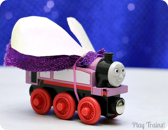 Dress Up Costumes for Toy Trains from Play Trains! A fun way to decorate wooden trains (or other toy trains) without damaging them.