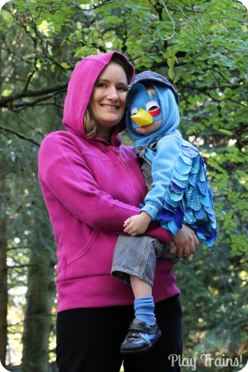 DIY Angry Birds Costume: Blue Bird (as the Engineer of the Angry Bird Train) from Play Trains!