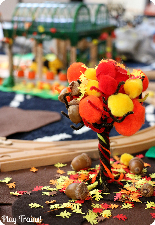 Fall Pom Pom Tree -- a fine motor activity for autumn from Play Trains!