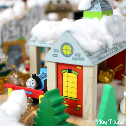 White Christmas Wooden Train Layout