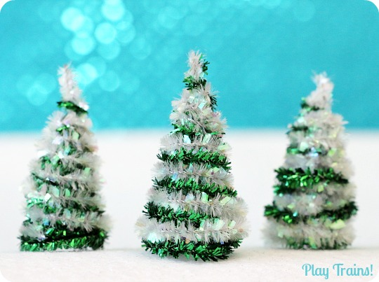 pipe cleaner trees christmas craft for train sets and small worlds from play trains - Pipe Cleaner Christmas Tree