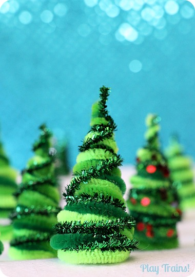pipe cleaner trees christmas craft for train sets and small worlds from play trains